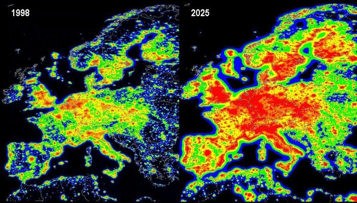 Europe Light Pollution map - 1998 situation and 2025 prognosis