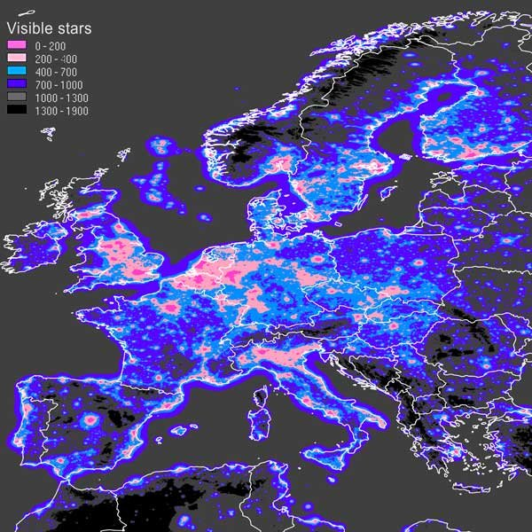 A visible stars map - Europe